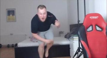 Jardier (Jaroslav Honzik), doing his famous victory dance.